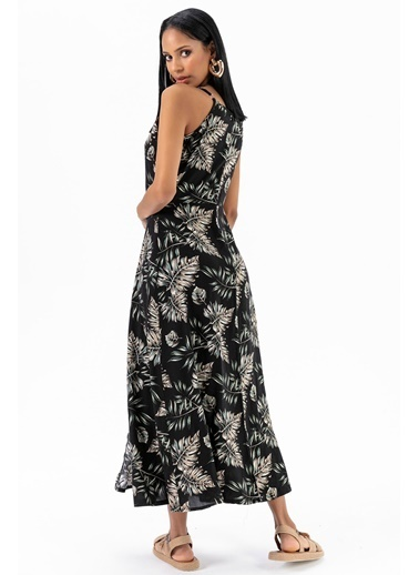 Emjey Askılı Kruvaze Elbise Siyah